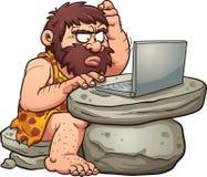 Homme des cavernes à l'aide de l'ordinateur portable illustration stock