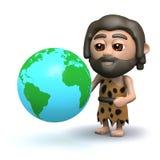 homme des cavernes 3d avec un globe de la terre Photos stock