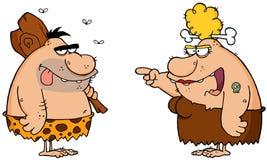Homme des cavernes et Cavewoman fâché Image stock