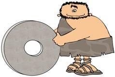 Homme des cavernes et la roue illustration stock