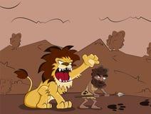 Homme des cavernes et lion Image stock