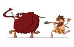 Homme des cavernes et mammouth illustration stock