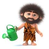 homme des cavernes primitif de la bande dessinée 3d drôle arrosant son jardin Photos stock