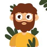 Homme des cavernes, vecteur viril d'extérieur de chasse de garçon à plat illustration stock