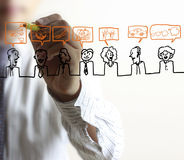 Homme dessinant le réseau social Images stock