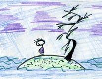 Homme dessus   île Image libre de droits