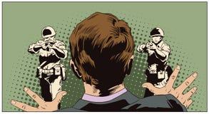 Homme devant des personnes avec des armes exécution Illustrati courant illustration libre de droits