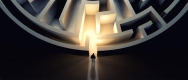 Homme devant un labyrinthe illustration de vecteur