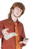 Homme donnant l'argent photographie stock