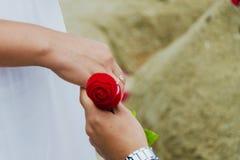 Homme donnant le boîte-cadeau avec la bague de fiançailles à la femme image stock