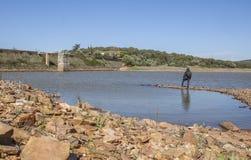Homme donnant sur Roman Dam de Cornalvo Photos libres de droits