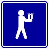 Homme donnant une illustration de vecteur de signe de cadeau Photographie stock libre de droits