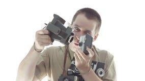 Homme drôle prenant des photos photo libre de droits