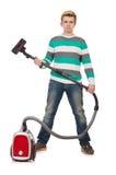 Homme drôle avec l'aspirateur Photographie stock libre de droits