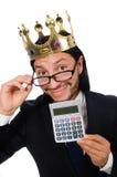 Homme drôle avec la calculatrice et l'abaque Image libre de droits