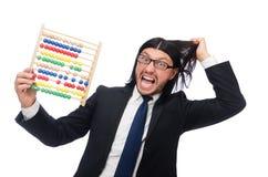 Homme drôle avec la calculatrice et l'abaque Images stock