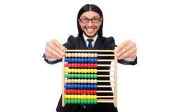 Homme drôle avec la calculatrice et l'abaque Image stock
