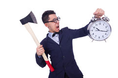 Homme drôle avec la hache et l'horloge Images stock