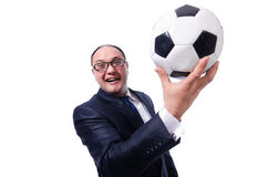 Homme drôle avec le football d'isolement Photo stock