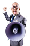 Homme drôle avec le haut-parleur Images libres de droits