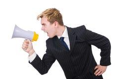 Homme drôle avec le haut-parleur Image libre de droits
