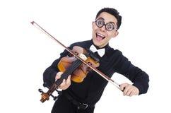 Homme drôle avec le violon Photographie stock