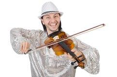 Homme drôle avec le violon Photographie stock libre de droits