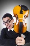 Homme drôle avec le violon Images libres de droits