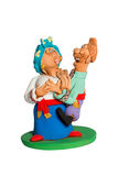 Homme drôle de figurine sauté sur une femme Photos libres de droits