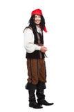 Homme drôle de sourire habillé en tant que pirate avec images stock