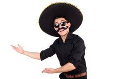 Homme drôle utilisant le chapeau mexicain de sombrero Images stock
