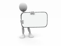 homme du dessin animé 3d avec le panneau blanc que vous pouvez inser Image stock