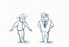 Homme effrayé d'affaires parlant avec le patron fâché Doodle Image libre de droits