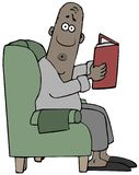 Homme effrayé lisant un livre illustration stock