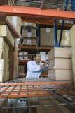 Homme empilant des boîtes dans l'entrepôt photo libre de droits
