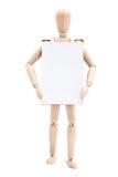 Homme en bois avec le panneau publicitaire porté par un homme-sandwich Photos stock