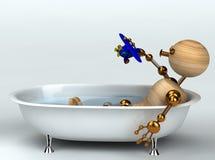 Homme en bois avec le vieux bain illustration libre de droits