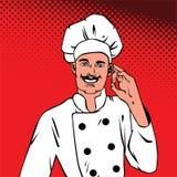 Homme en chef montrant à bandes dessinées correctes d'art de bruit de succès le rétro style avec l'image tramée Image stock