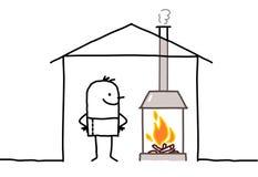 Homme en maison et cheminée Photo stock