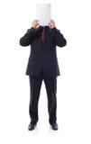 Homme en papier de blanck de fixation de procès photographie stock