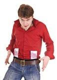 Homme en rouge avec de l'argent. image libre de droits