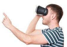 Homme en verres de VR Photo stock