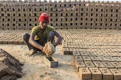 Homme enlevant des briques du moule Photos stock