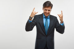 Homme enthousiaste d'affaires célébrant le succès d'isolement sur le backg blanc photographie stock