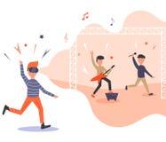 Homme enthousiaste dans la réalité virtuelle sentiment du concert 3d illustration stock