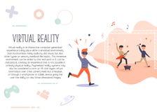 Homme enthousiaste dans la réalité virtuelle sentiment du concert 3d illustration de vecteur
