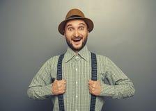 Homme enthousiaste de hippie Photographie stock
