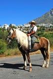 Homme espagnol sur le cheval, Marbella. Images libres de droits