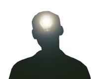 Homme et ampoule Photographie stock