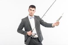 Homme et canne à pêche Image libre de droits